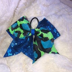 Blue and Green Cheetah Print Sequenced Cheer Bow